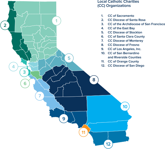 Santa Rosa California Map.What We Do Catholic Charities Of California